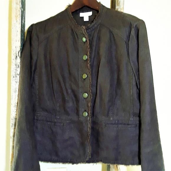 Charter Club Jackets & Blazers - Charter Club Women's Jacket  Brown Raw Hem Linen